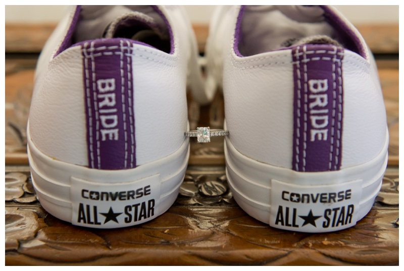 Purple Converse Wedding Shoes With Emerald Cut Engageemnt Ring