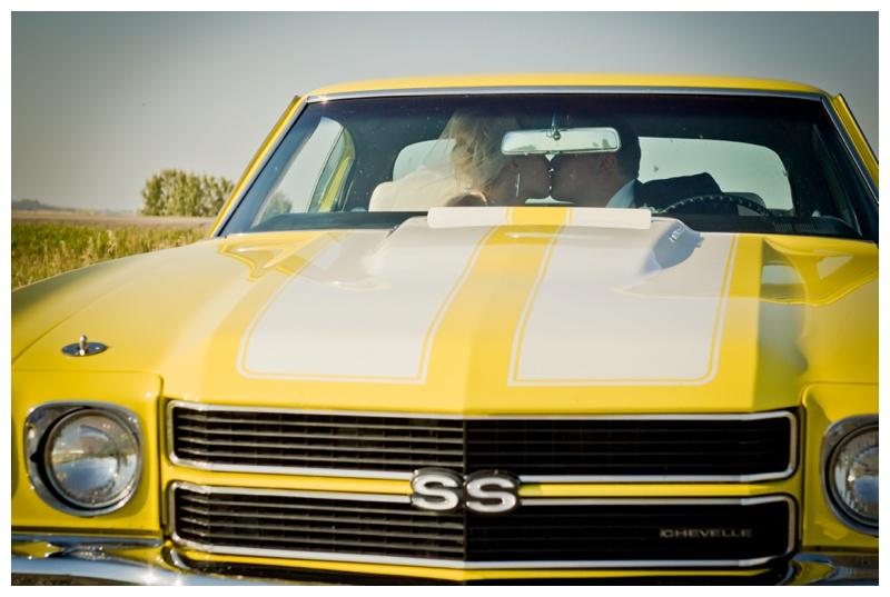 Yellow Antique Car Wedding Photography