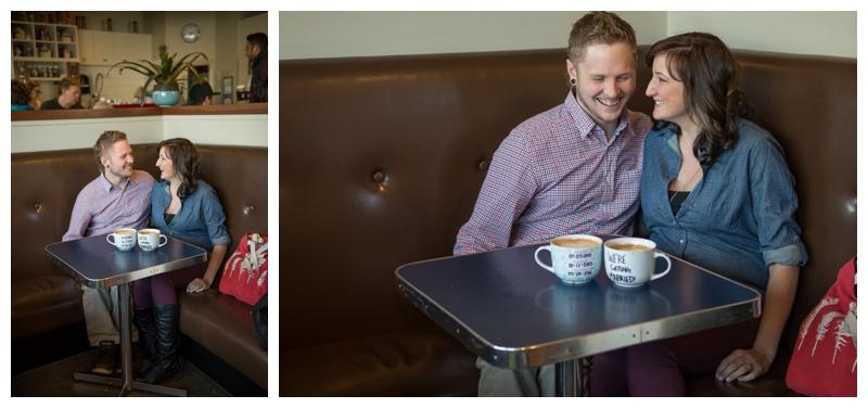 Coffee Shop Engagement Photos Calgary