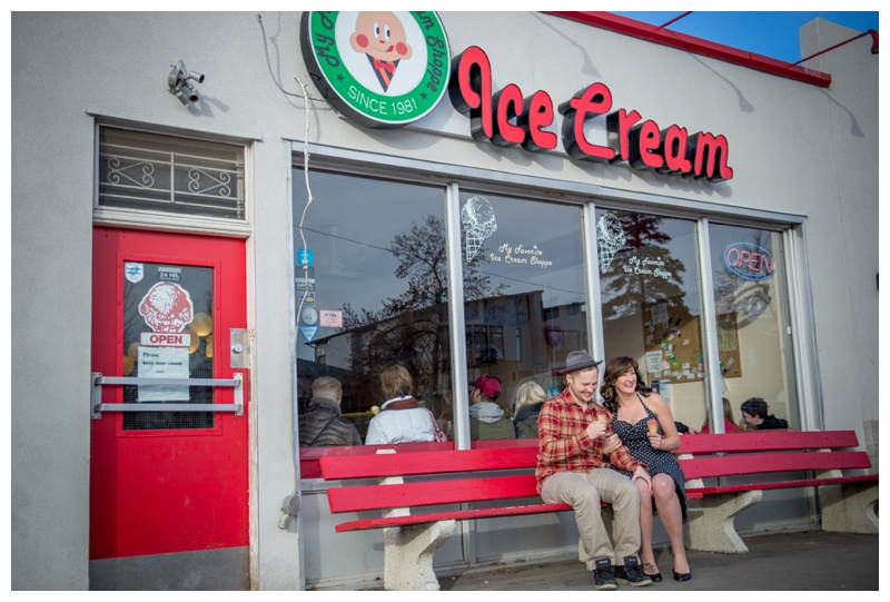 My Favourite Ice-cream Shop Calgary  Engagement Photos