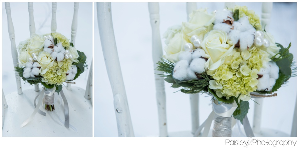 Christmas Wedding Bouquet, WInter Wedding Bouquet, Cotton Accent Wedding Bouquet, Calgary Wedding Photography, Winter Wedding Details, Southern Alberta Wedding, Southern Alberta Wedding Photographer, Alberta Wedding Photographer, Cochrane Wedding, Calgary Wedding Photography, Forest Wedding Calgary