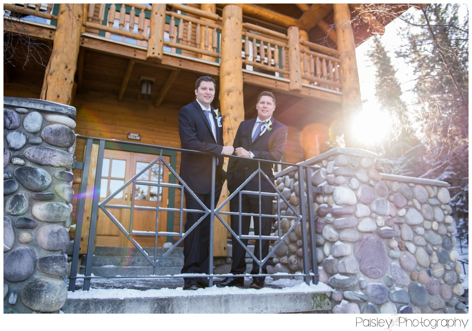 Groomsmen Photography, Groom Photos, Banff Winter Wedding, Banff Wedding, Banff Wedding Photographer, Mountain Wedding, Rocky Mountain Wedding, Rocky Mountain Wedding Photographer, Bridal Party Photography, Snowy Winter Wedding Photography