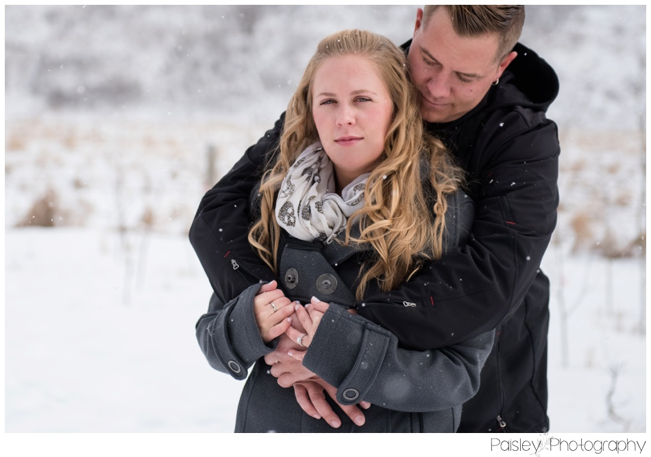Winter Snuggle Engagement Session Cochrane