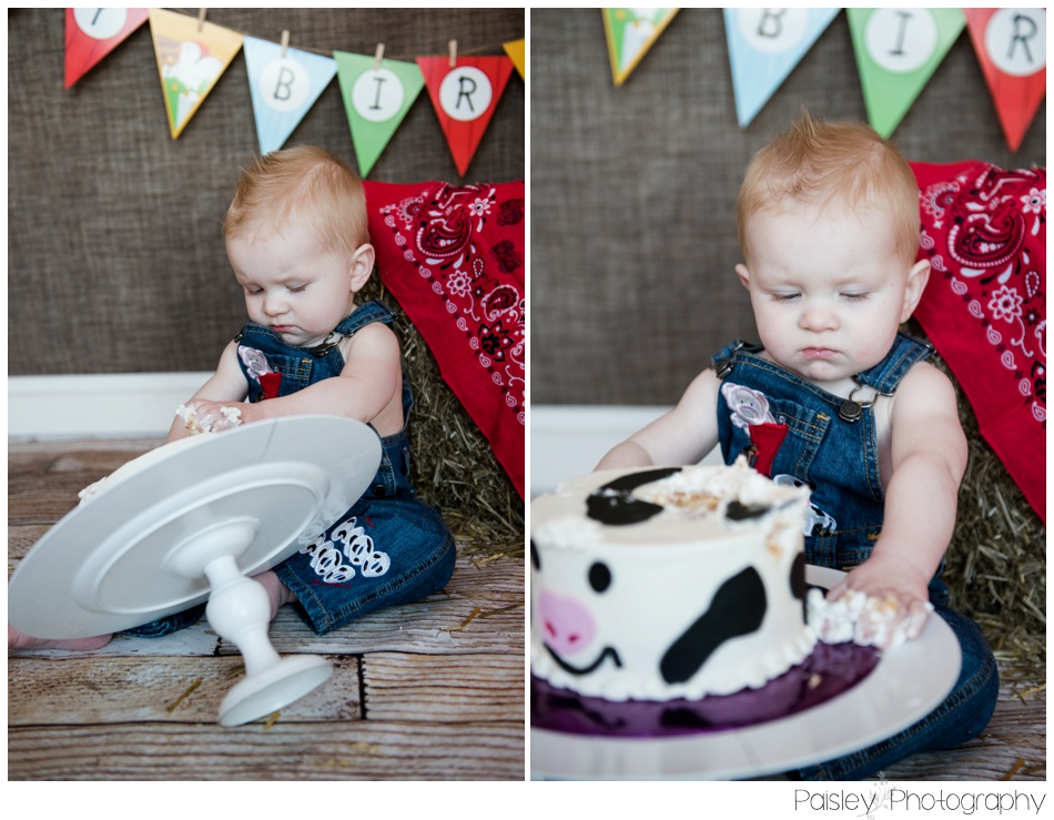 Cowboy Theme Cake Smash, Calgary Cake Smash Photography, Cake Smash Photographer Calgary, Cake Smash Photographer, Country Cake Smash, Country themed Cake Smash, 1st Birthday Photo Session