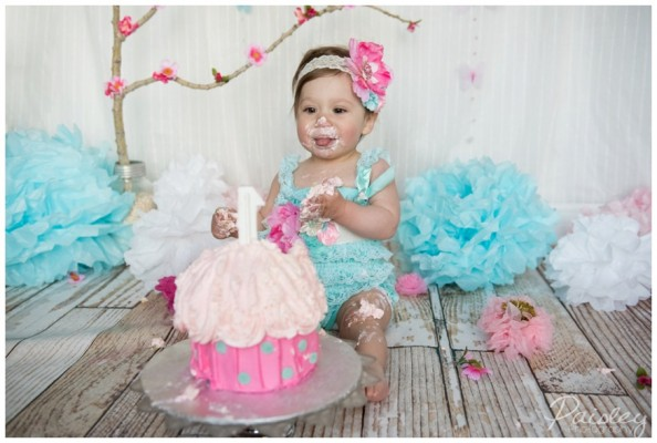 Sophie's First Birthday Cake Smash ~ Calgary Studio Cake Smash Photography