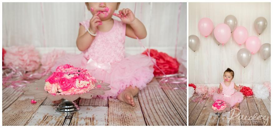 Pink & Grey Cake Smash Photos