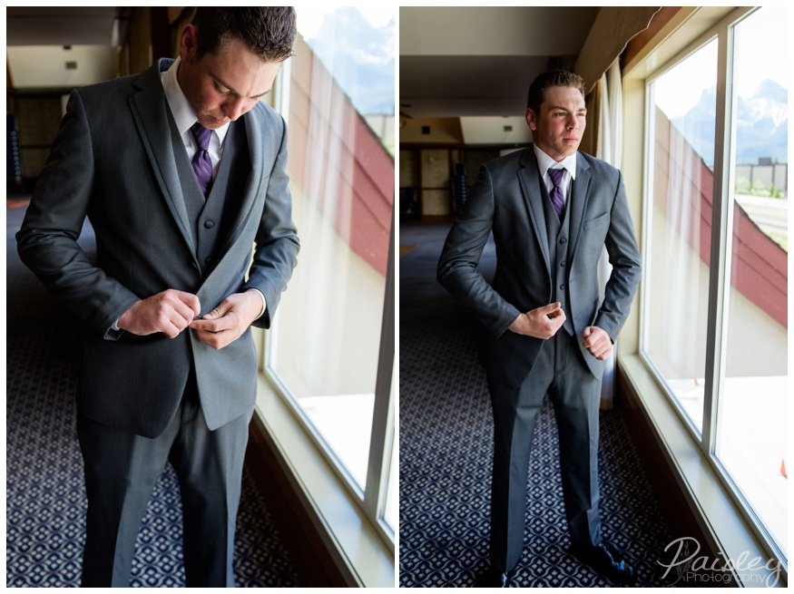 Groom Getting Ready Photos Canmore Alberta