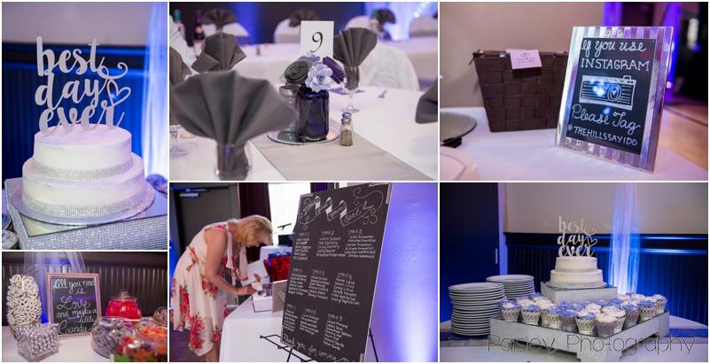Purple & Grey Wedding Reception Details