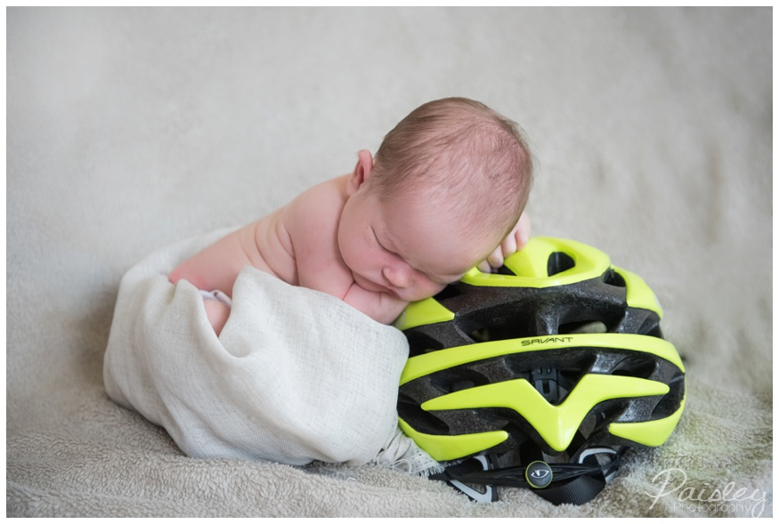 Newborn with Bike Helmet Photography