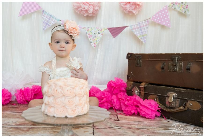 Pink Cake Smash Photos Calgary