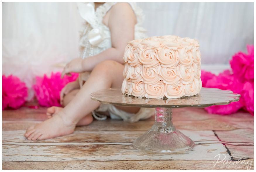 Coral Rose First Birthday Cake Smash