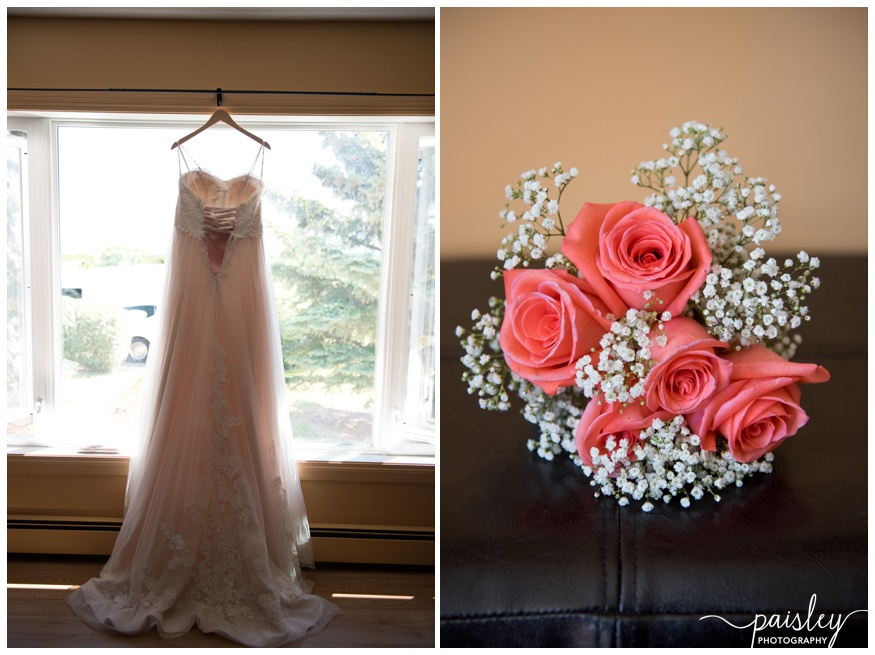 Coral Rose & Baby's Breath Wedding Bouquet