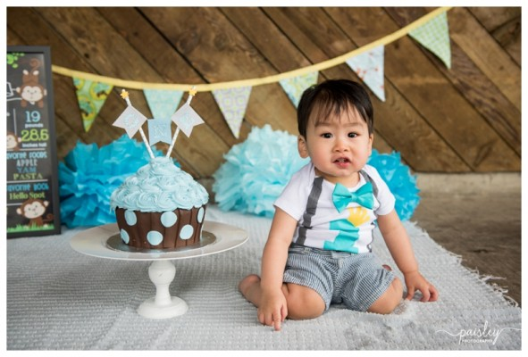 Calgary Cake Smash Photography ~ Evan is ONE!