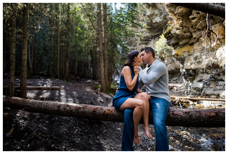 Canmore Waterfall Engagement Photography