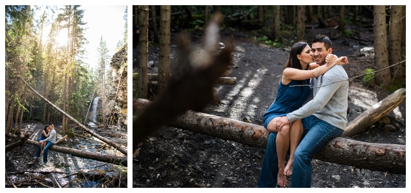 Waterfall Engagement Photography Kananaskis