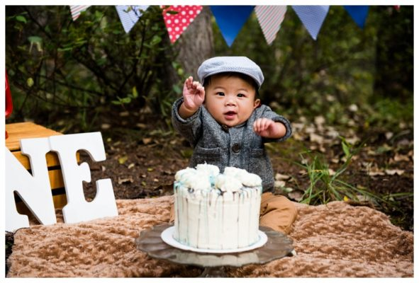 Calgary Forest Cake Smash Photography ~ Ryland is ONE!