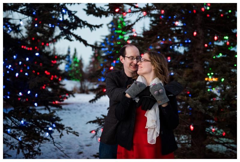 Christmas Light Engagement Photos Calgary