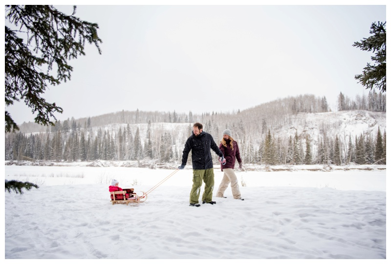 Toboggan Winter Family Photos Calgary