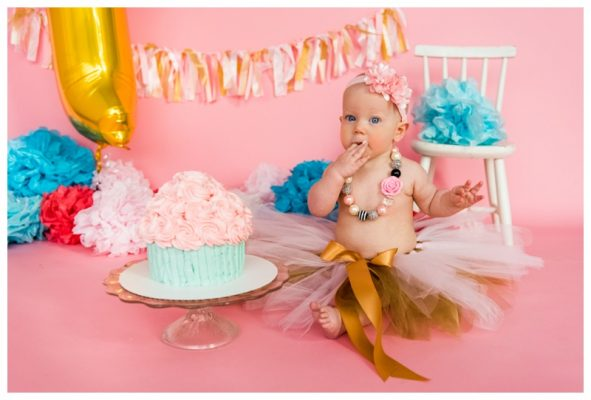 Pink Explosion First Birthday Cake Smash Session – Calgary Cake Smash Photos