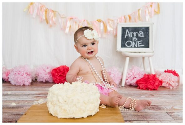 Pink Tea Party First Birthday Cake Smash – Calgary Cake Smash Photographer