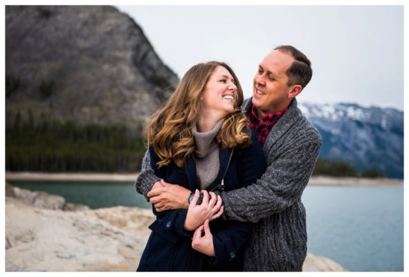 Lake Minniwanka Engagement Photo | Adam & Alaina | Banff Photographer