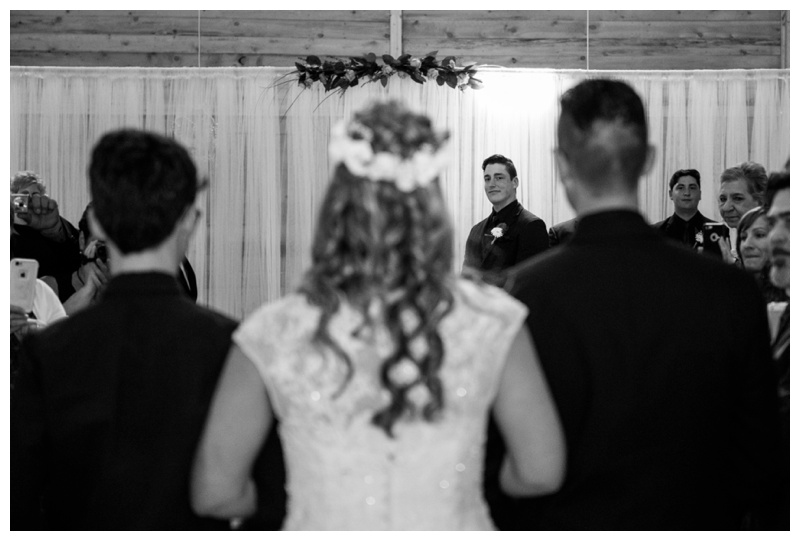 Indoor Wedding Ceremony at Willow Lane Barn