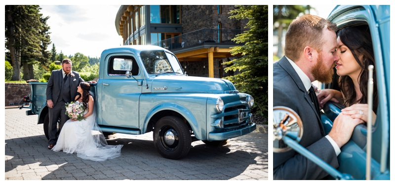 Bride & Groom with Antique Truck Wedding Photos - Calgary