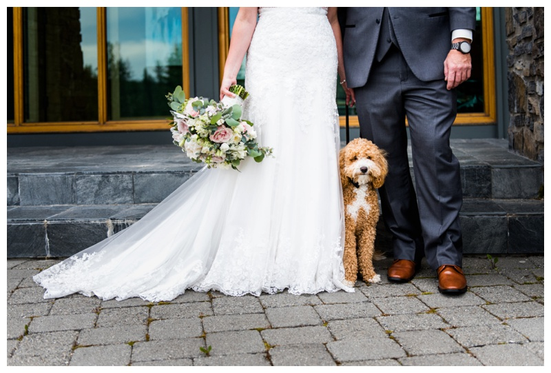 Bride & Groom with Dog Wedding Photos Calgary