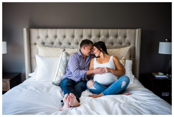 Calgary In Home Maternity Photography | James + Shannon | Calgary Maternity Photographer