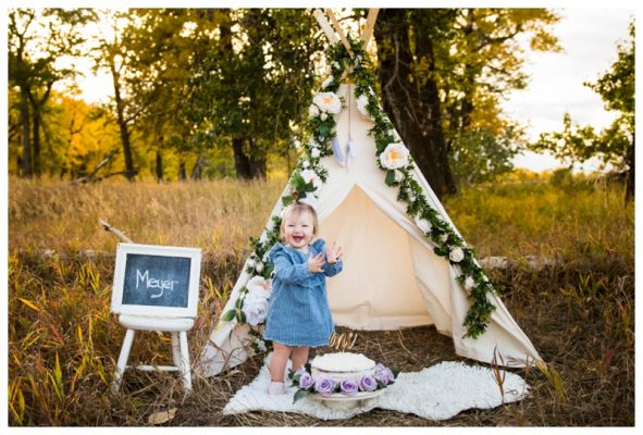 Floral Teepee Calgary Cake Smash Photography | Meyer Is ONE! | Calgary Photographer