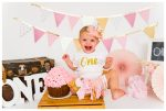 Pink & Gold Calgary Cake Smash Photography | Olivia is ONE | Calgary Cake Smash Photographer