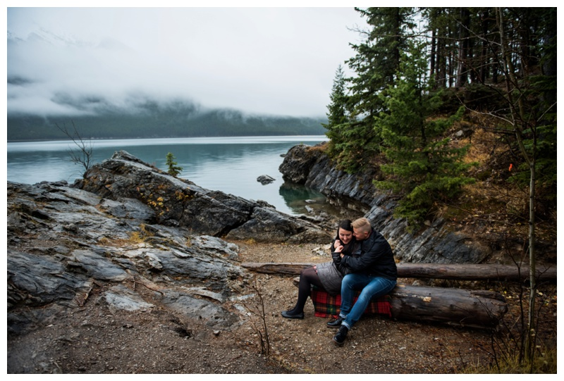 Surpsie Wedding Proposal Photos Lake Minniwanka Banff