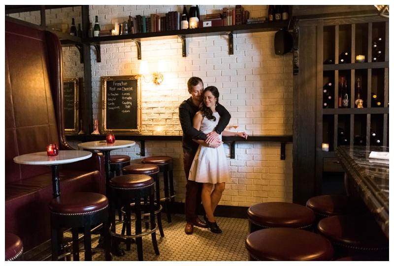 Wine Bar Engagement Photography Calgary