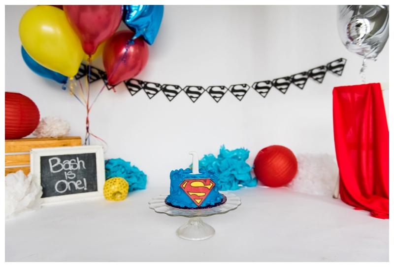 Superman First Birthday Cake Smash Photos Calgary