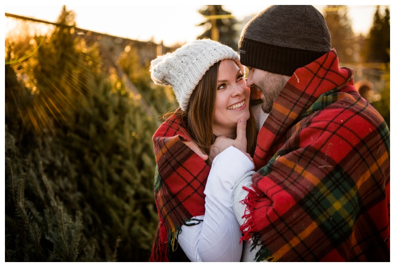 Calgary Christmas Tree Lot Engagement Photographer