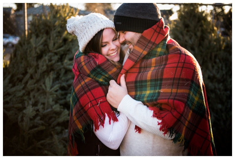 Calgary Winter Engagement Photography - Christmas Tree Lot