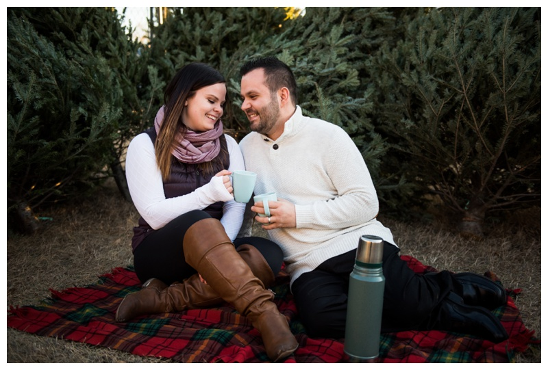 Calgary Christmas Tree Lot Engagement Photos