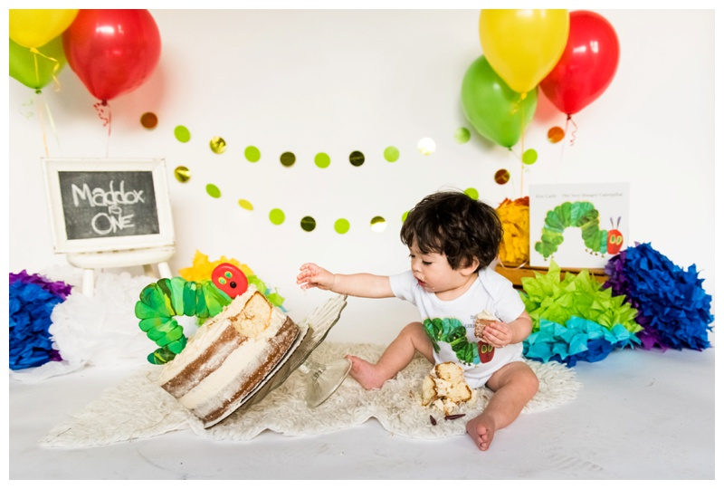 Hungry Caterpillar First Birthday Cake Smash- Calgary Photographer.jpg