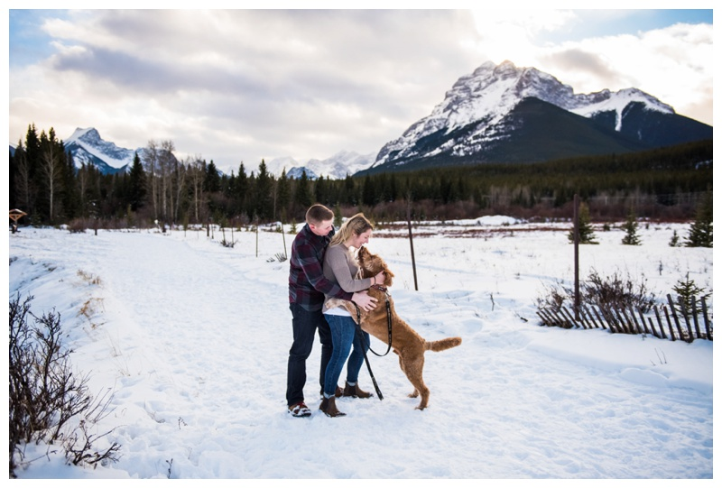 Kananaskis Engaement Photos - Winter Engagement Photography Canmore
