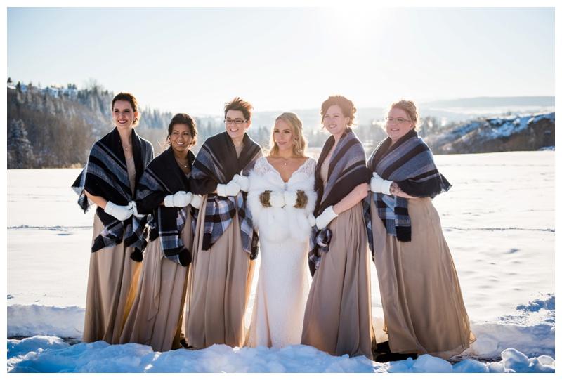 Winter Bridesmaid Photos - Cochrane Wedding Photographer