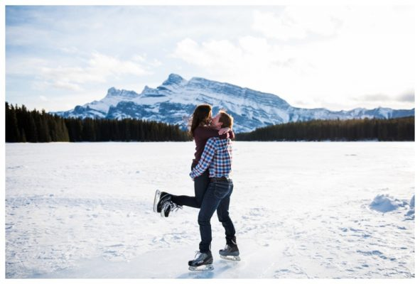 Two Jack Lake Skating Engagement Session | Ryan & Paije | Banff Photographer