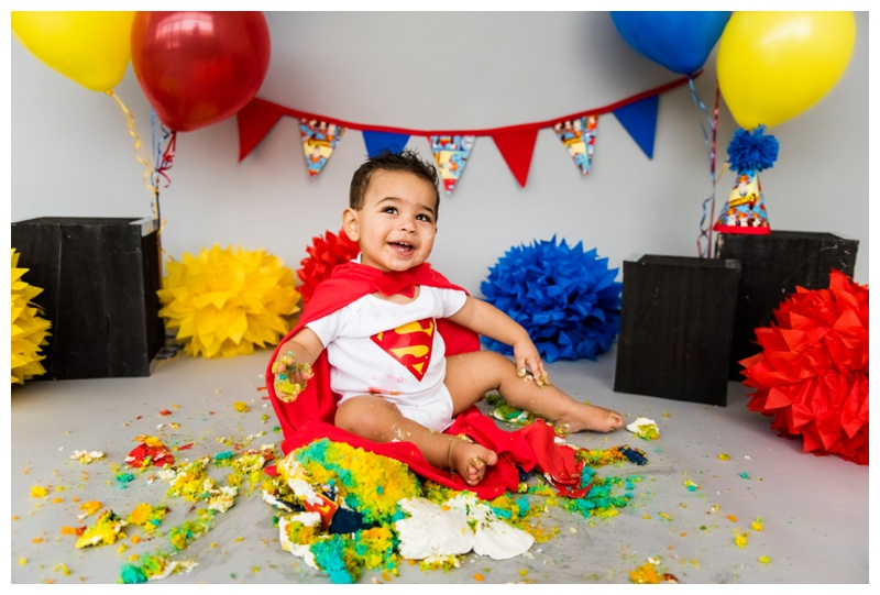 Boy Cake Smash Session - Superman Themed 1st Birthday