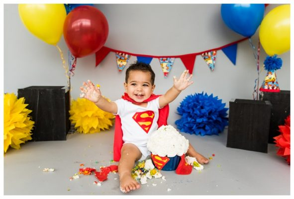 Superman Cake Smash Session Calgary | Kasen is ONE | Calgary Cake Smash Photographer
