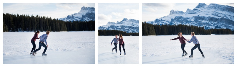 Ice Skating Engagement Photos Banff Alberta