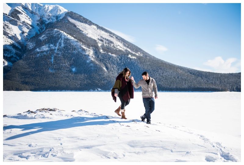 Lake Minniwanka Winter Engagement Session