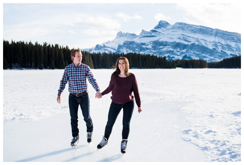 Two Jack Lake Skating Engagement Session Banff