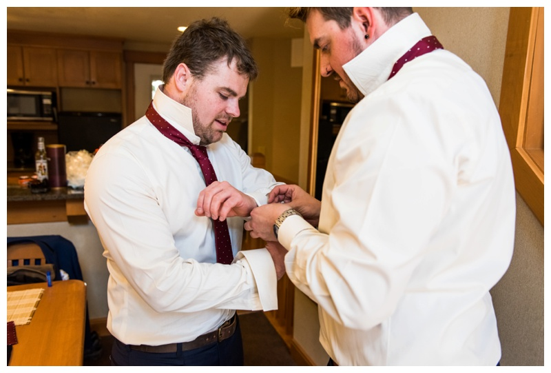 Groom Prep Wedding Photos - Banff