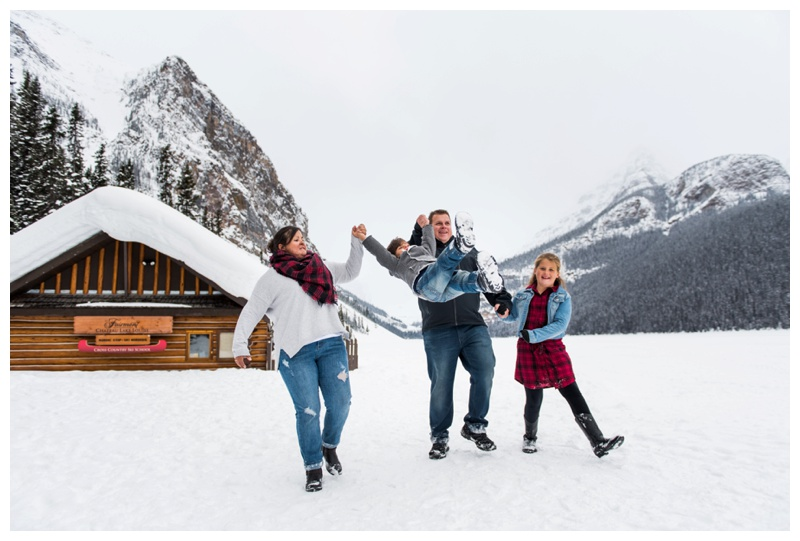 Winter Family Photos Lake Louise - Banff Alberta