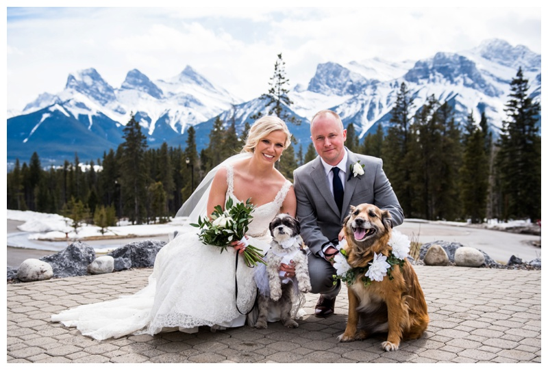 Canmore Wedding - Bride & Groom with Dogs
