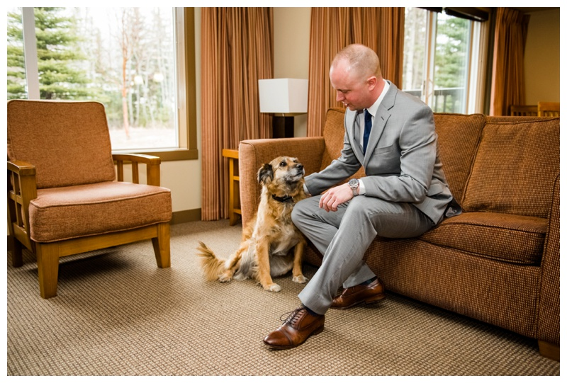 Groom Prep With Dog - Canmore Wedding